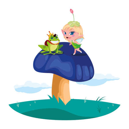 beautiful magic fairy with toad prince in the garden vector illustration design