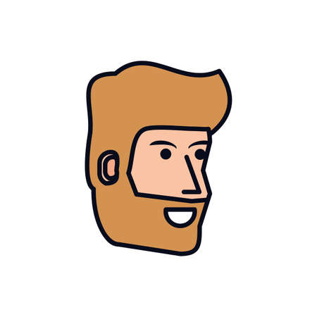 head of young man with beard avatar character vector illustration design 向量圖像