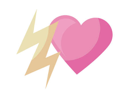 heart love with thunderbolt isolated icon vector illustration design