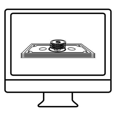 desktop computer with coins and bills money vector illustration design