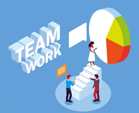 group of people business on pie, success teamwork vector illustration design