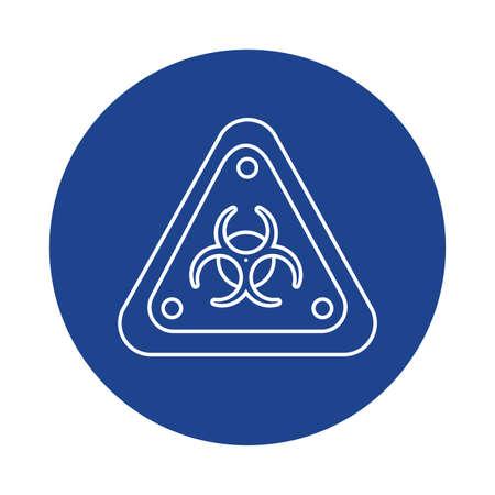 biohazard sign, line block style icon vector illustration design