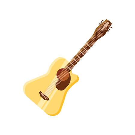 acoustic guitar on white background vector illustration design
