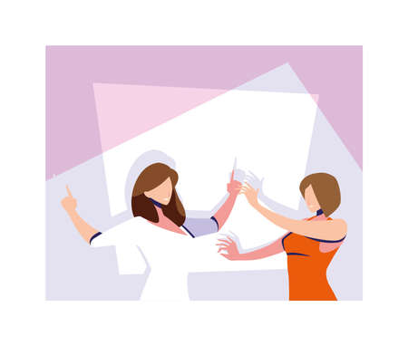 scene of women in dance pose, party, dance club vector illustration design Иллюстрация