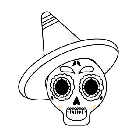 Mexican skull with hat design, Mexico culture tourism landmark latin and party theme Vector illustration
