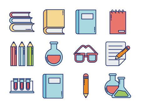 set of icons teachers day, line and fill style icon vector illustration design