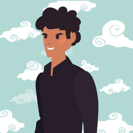 man character portrait sky background
