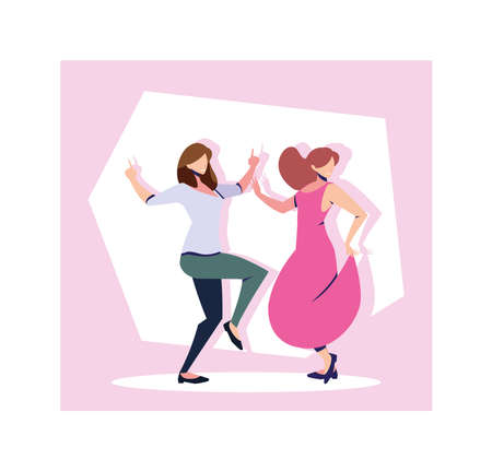scene of women in dance pose, party, dance club vector illustration design