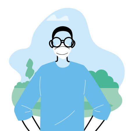 Young man wearing face mask to prevent virus in the park vector illustration design