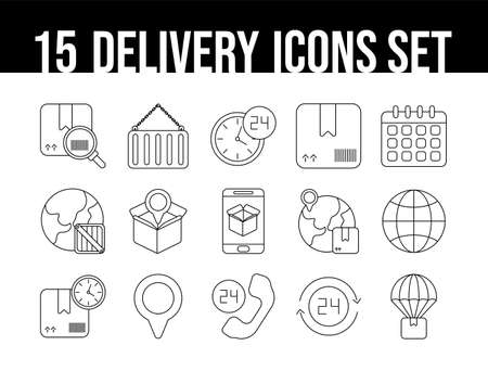 set of icons freight delivery logistics , line style icon vector illustration design