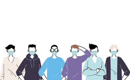 young men wearing face mask to prevent virus vector illustration design