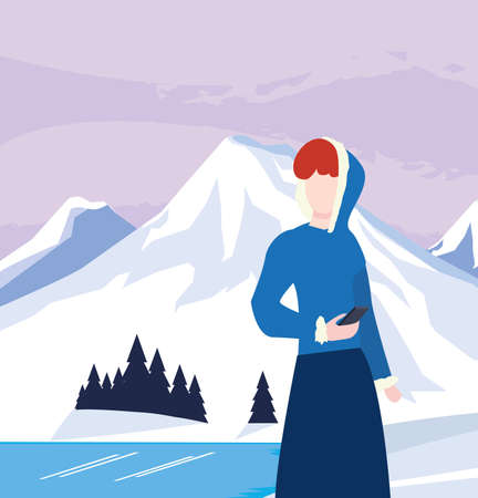 woman with mobile in the winter scene landscape vector illustration