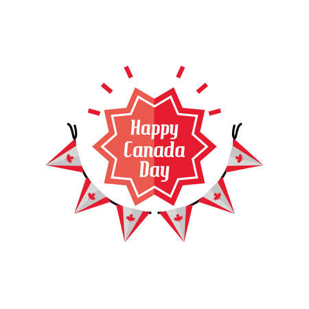happy canada day with garland and decoration vector illustration design 일러스트