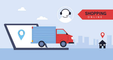 delivery truck carries deliver to people , online shopping vector illustration design 向量圖像