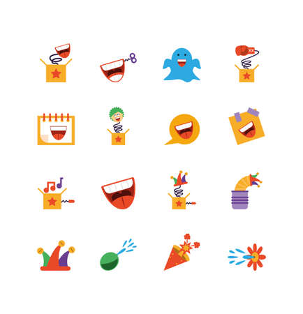 fools day icon set over white background, colorful and flat style design, vector illustration