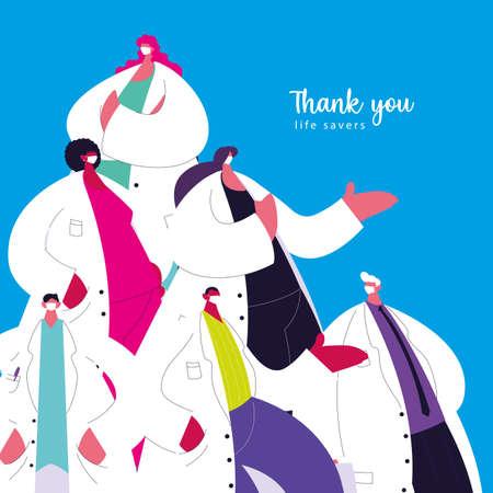 Thanks to the medical staff for their work against the coronavirus vector illustration design Ilustração