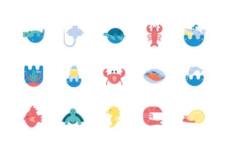 icon set design Sea life ecosystem fauna ocean underwater water nature marine tropical theme Vector illustration