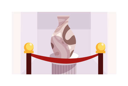 contemporary sculptures exhibition on white background vector illustration design
