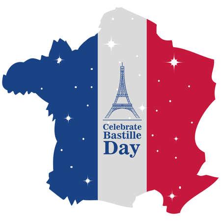 banner or poster for the French national day, label celebrate bastille day vector illustration design