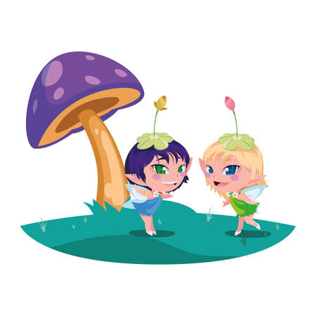beautiful magic fairies in camp vector illustration design