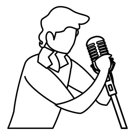 singer with microphone character vector illustration design