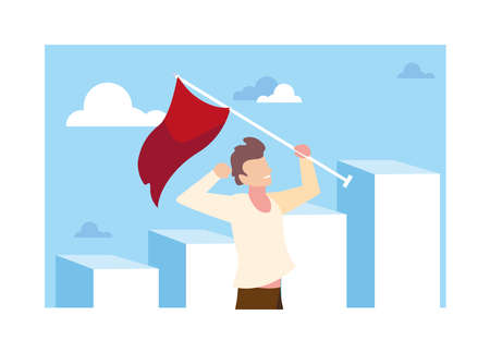man running up stairway to the top of mountain, way to success vector illustration design