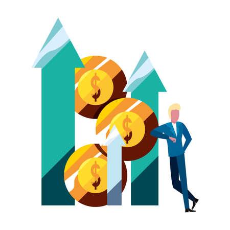 businessman money bank arrow up chart vector illustration Vettoriali