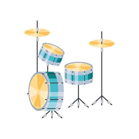 musical drum kit on white background vector illustration design