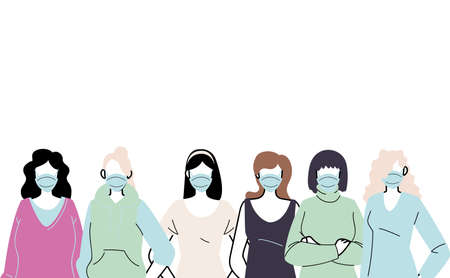 young women wearing face mask to prevent virus vector illustration design