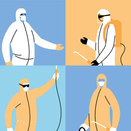work teams wear protective suit, posters disinfection by coronavirus vector illustration design