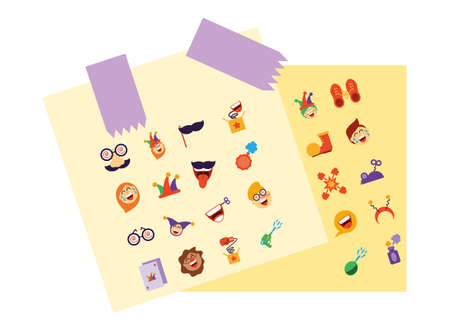 april fools day cartoon icons set over white background, colorful and flat style design, vector illustration