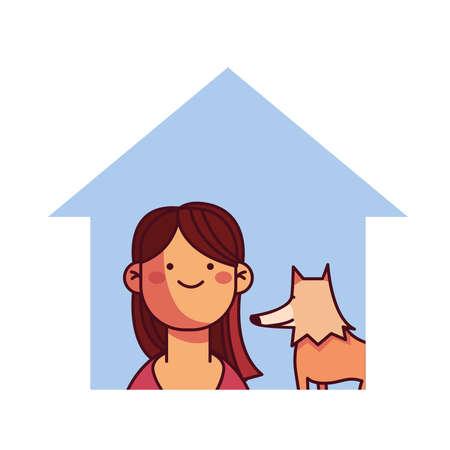 girl and dog at home smiling vector illustration desing