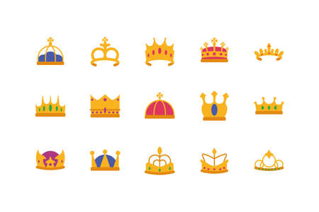 Crowns icon set design, Royal king queen luxury jewelry kingdom insignia emperor authority and coronation theme Vector illustration