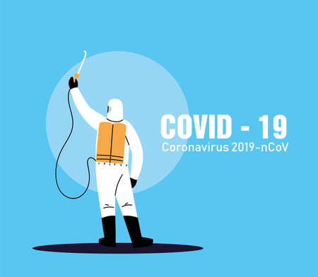 person in suit to work disinfection by covid-19 vector illustration desing Illustration