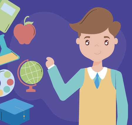 cute card with male teacher, teacher day vector illustration design