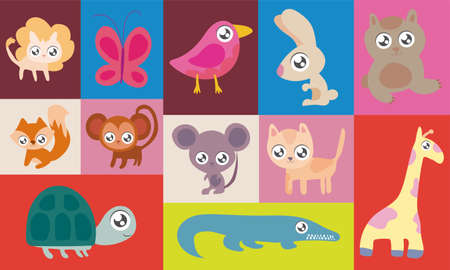 set of animals in style vector illustration design