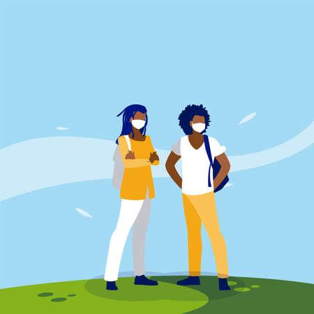 Men avatars with masks outside design of Covid 19 virus theme Vector illustration Vector Illustration