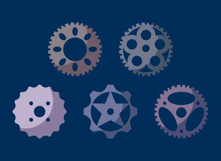 set of gears machine vector illustration design
