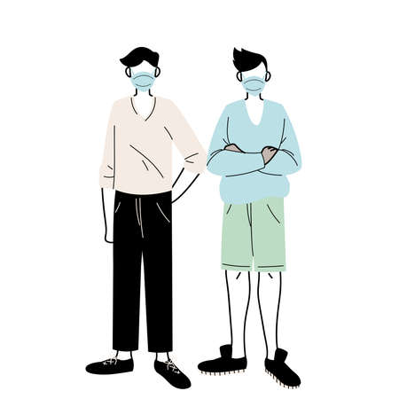 young men with medical masks standing on white background vector illustration design