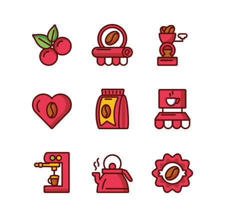 Coffee icon set design of time drink breakfast beverage shop morning store aroma and caffeine theme Vector illustration