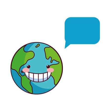 earth globe happy for preservation vector illustration desing
