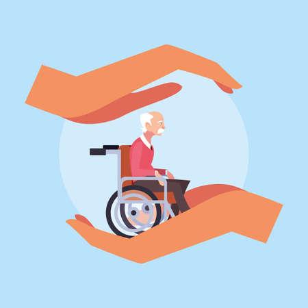 elderly care, old man in a wheelchair vector illustration design Stock Illustratie