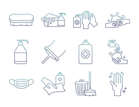 degraded line style icon set design, Cleaning service and covid 19 virus theme Vector illustration