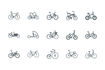 silhouettes bikes icon set design, Vehicle bicycle cycle healthy lifestyle sport and leisure theme Vector illustration