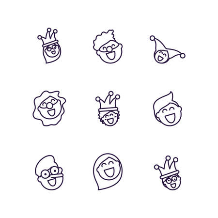 cartoon people laughing and fools day icons set over white background, line style design, vector illustration