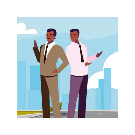 businessmen standing in urban street, business professional men vector illustration design