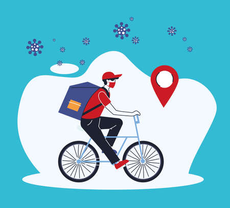 man courier with mask merchandise delivery location vector illustration desing Illustration