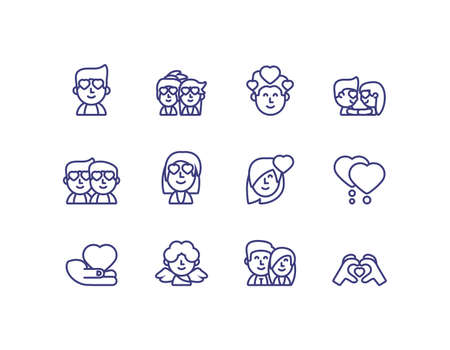 Icon set design of Love valentines day wedding passion romantic decoration and marriage theme Vector illustration 일러스트