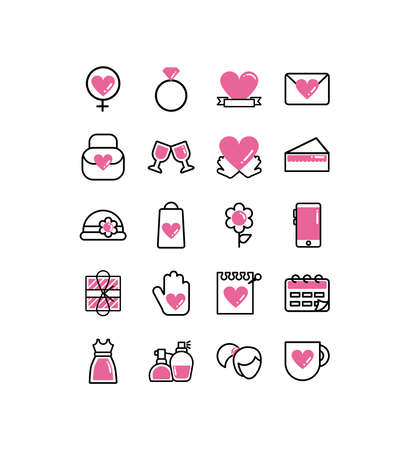 set of icons women day, line style and color vector illustration design