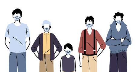 people in protective medical face masks, men wearing protection from coronavirus vector illustration design